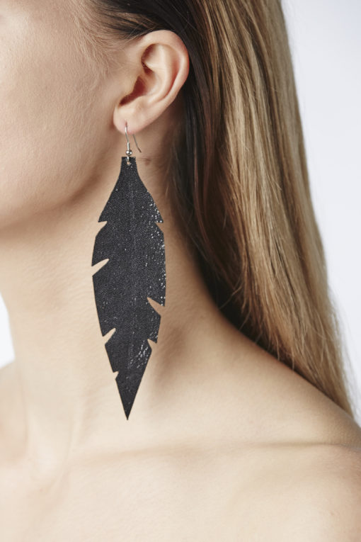 Feathers Grande Glitter Black Earring