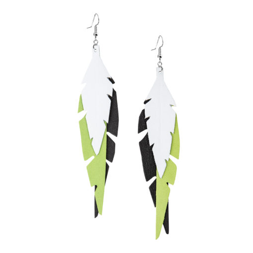 Fabulous Feathers Black-Lime-White Earrings
