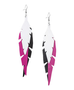 Fabulous Feathers Black-Pink-White Earrings