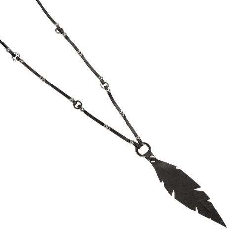 Feather & Rivets Necklace is our unique handmade design made of Italian lamb leather and cow leather.