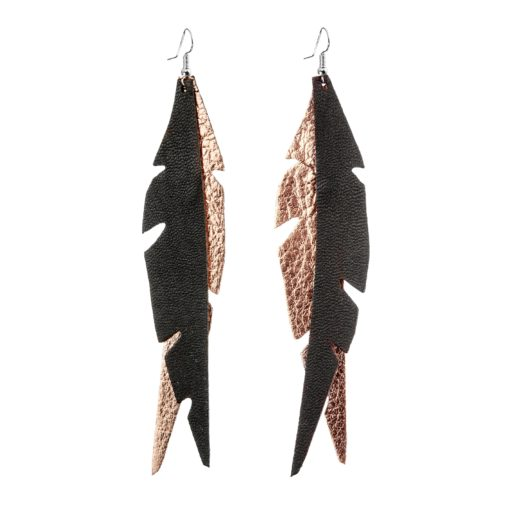 Glam Feathers Rose Gold Black Earrings