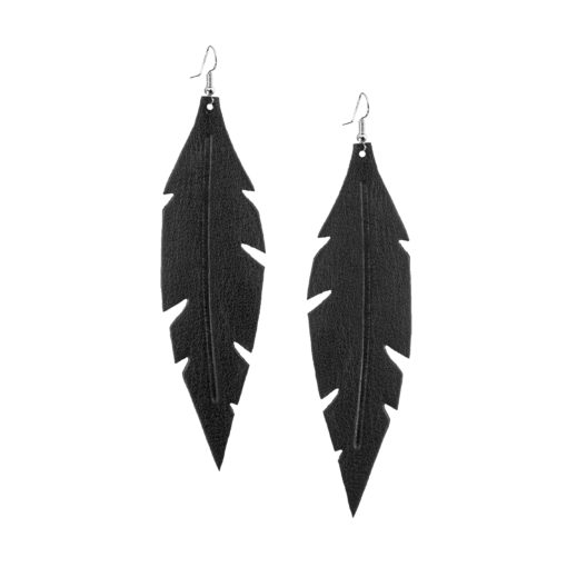 Grande Feathers Black are beautiful, eye-catching (14.5cm) and lightweight (Only 7g!) leather earrings for women who have the courage to be seen and for women who need encouragement to be seen.They are also perfect earrings for upgrading your everyday style.