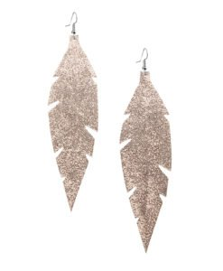Grande Feathers Glitter Rose Gold are beautiful, eye-catching (14.5cm) and lightweight (Only 7g!) leather earrings for women who have the courage to be seen and for women who need encouragement to be seen.They are also perfect earrings for upgrading your everyday style.