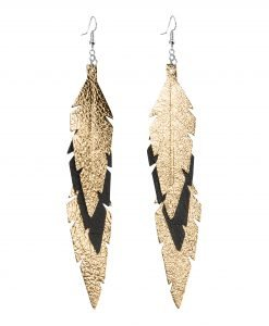 Midi Feathers Feathers in gold - black are beautiful and lightweight (Only 6 g!) eye-catching (14.5cm) and very comfortable leather earrings. Thanks to their user-friendly chain these earrings can be worn even with a scarf or a turtleneck shirt.