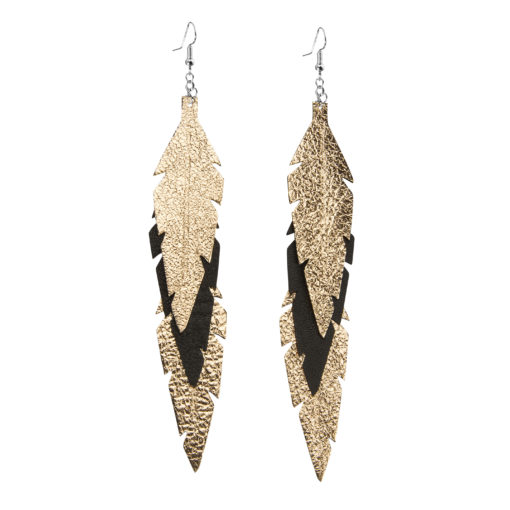 Midi Feathers Feathers in rose gold - black are beautiful and lightweight (Only 6 g!) eye-catching (14.5cm) and very comfortable leather earrings. Thanks to their user-friendly chain these earrings can be worn even with a scarf or a turtleneck shirt.