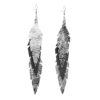 Midi Feathers Feathers in silver - black - silver are beautiful and lightweight (Only 6 g!) eye-catching (14.5cm) and very comfortable leather earrings. Thanks to their user-friendly chain these earrings can be worn even with a scarf or a turtleneck shirt.
