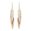 Midi Feathers Feathers in glitter rose gold are beautiful and lightweight (Only 6 g!) eye-catching (14.5cm) and very comfortable leather earrings. Thanks to their user-friendly chain these earrings can be worn even with a scarf or a turtleneck shirt.