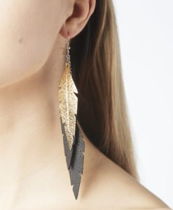 Midi Feathers Feathers are beautiful and lightweight (Only 6 g!) eye-catching (14.5cm) and very comfortable leather earrings. Thanks to their user-friendly chain these earrings can be worn even with a scarf or a turtleneck shirt.