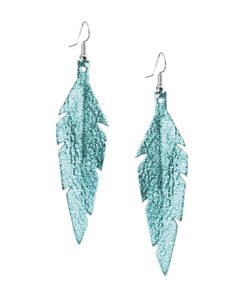 Midi Feathers in glitter turquoise are beautiful eye-catchers guaranteed to transform your style within seconds. The earrings are extremely light to wear and made of Italian goat leather.