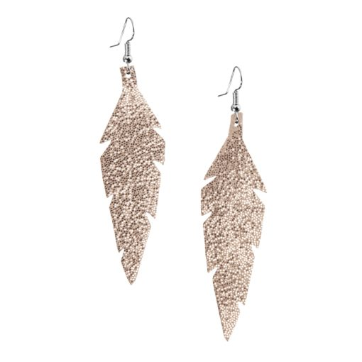 Midi Feathers in glitter gold are beautiful eye-catchers guaranteed to transform your style within seconds. The earrings are extremely light to wear and made of Italian goat leather.