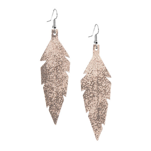 Midi Feathers in glitter rose gold are beautiful eye-catchers guaranteed to transform your style within seconds. The earrings are extremely light to wear and made of Italian goat leather.