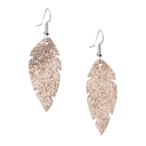 Petite Feathers glitter rose gold are light and delicate eye-catchers. Due to their size and lightness they are suitable for wearers of all ages, and are often the our customers' first pair of Viaminnet -earrings.