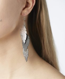 Petite Feathers Feathers are eye-catching earrings (length 11.5cm) that can be worn even with a scarf or a turtleneck shirt. Light as a feather earrings from luxurious Italian goat leather, which look gorgeous on anyone regardless of the length of their neck.