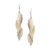 Petite Feathers Feathers in glitter gold are eye-catching earrings (length 11.5cm) that can be worn even with a scarf or a turtleneck shirt. Light as a feather earrings from luxurious Italian goat leather, which look gorgeous on anyone regardless of the length of their neck.