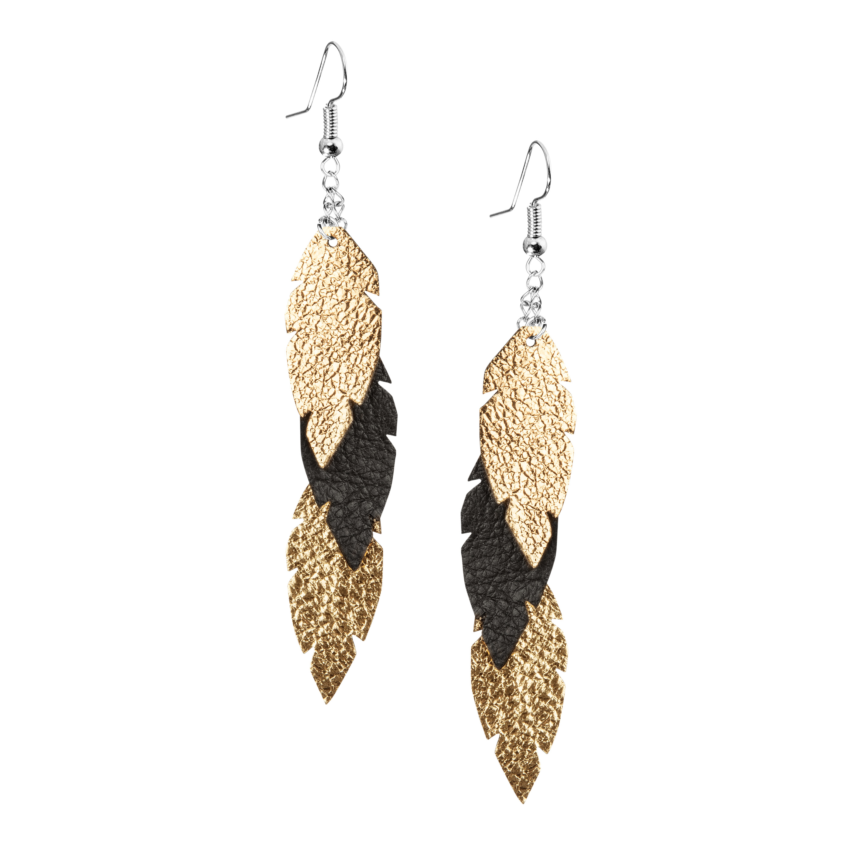 Petite Feathers Feathers in gold - black are eye-catching earrings (length 11.5cm) that can be worn even with a scarf or a turtleneck shirt. Light as a feather earrings from luxurious Italian goat leather, which look gorgeous on anyone regardless of the length of their neck.