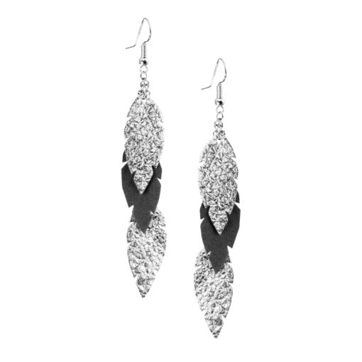 Petite Feathers Feathers in silver - black are eye-catching earrings (length 11.5cm) that can be worn even with a scarf or a turtleneck shirt. Light as a feather earrings from luxurious Italian goat leather, which look gorgeous on anyone regardless of the length of their neck.