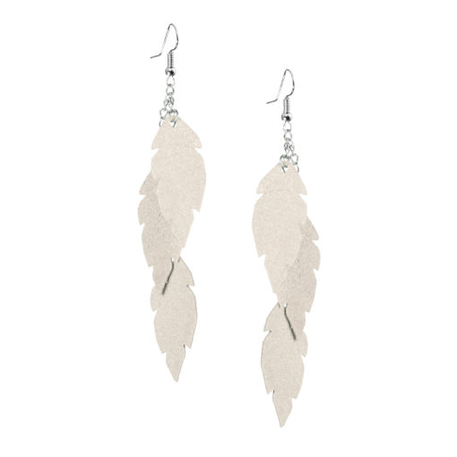 Viaminnet Feathers Petite Trio Powder Champagne Leather Earrings