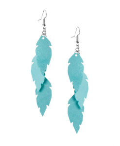 Viaminnet Petite Feathers Trio Powder Turquoise Earrings