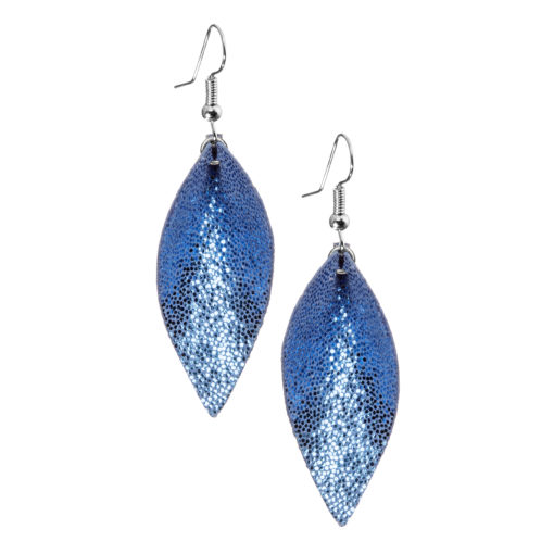 Lumme Petite earrings in glitter blue are inspired by the most beautiful decoration of Finland´s lakes, the water lily – Lumme.These lightweight exclusive Italian goat leather made elegant earrings size is ideal for everyone to wear.