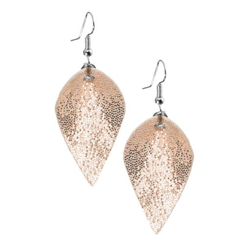 Lumme Petite earrings in glitter rose gold are inspired by the most beautiful decoration of Finland´s lakes, the water lily – Lumme.These lightweight exclusive Italian goat leather made elegant earrings size is ideal for everyone to wear.