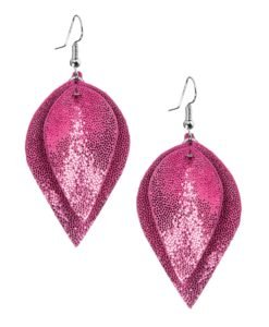 Viaminnet Lumme Midi Double Glitter Pink Leather Earrings