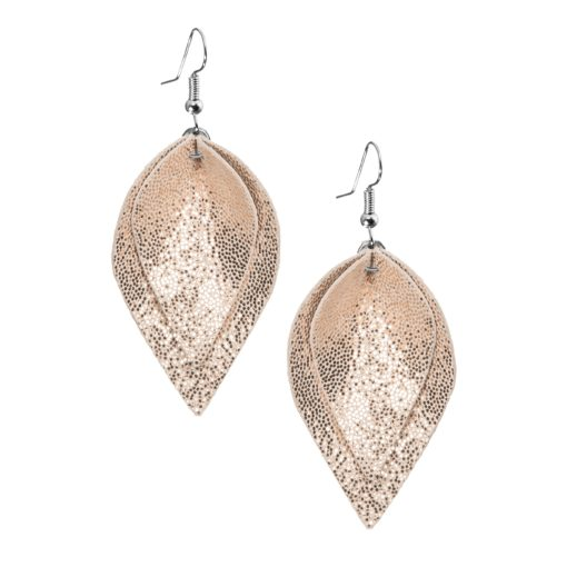 Lumme Midi Double Earrings in glitter rose gold are inspired by the most beautiful decoration of Finland´s lakes, the water lily – Lumme. The shape of these lightweight (only 5g) exclusive italian goat leather made earrings is elegant and the size (length 7cm) of the earrings make it suitable to all occasions.