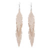 Midi Feathers Feathers in champagne are beautiful and lightweight (Only 6 g!) eye-catching (14.5cm) and very comfortable leather earrings. Thanks to their user-friendly chain these earrings can be worn even with a scarf or a turtleneck shirt.