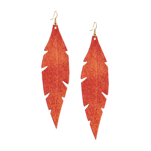 Grande Feathers Golden Red are beautiful, eye-catching (14.5cm) and lightweight (Only 7g!) leather earrings for women who have the courage to be seen and for women who need encouragement to be seen.They are also perfect earrings for upgrading your everyday style.