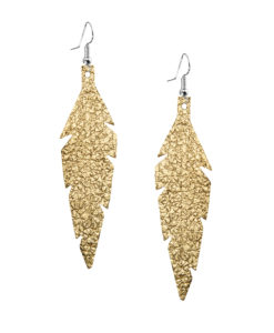 Midi Feathers Foiled Gold Earrings