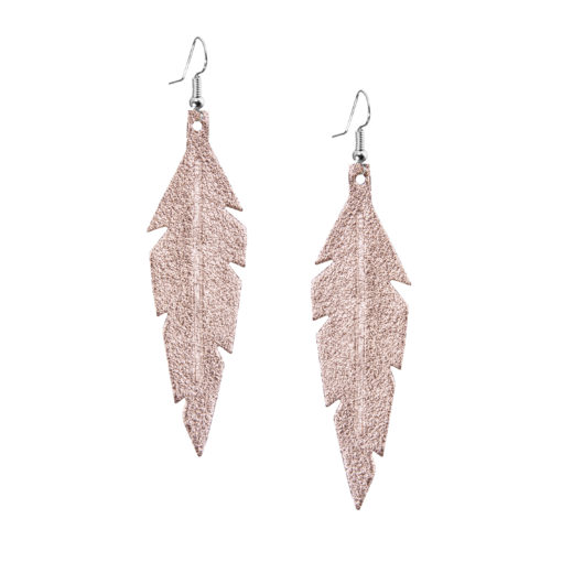Midi Feathers Foiled Rose Gold Earrings