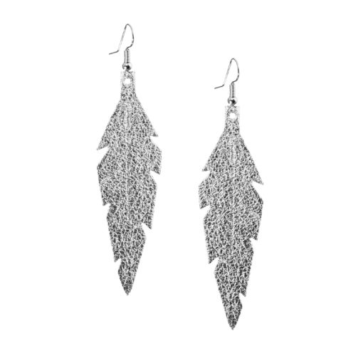 Midi Feathers Foiled Silver Earrings