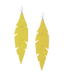Feathers Grande Powder Yellow Earrings