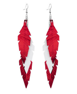 Feathers Midi Trio Red White Earrings