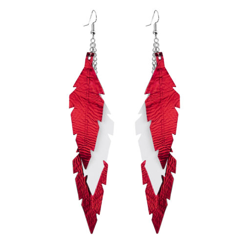 Viaminnet Feathers Midi Trio Red White Leather Earrings