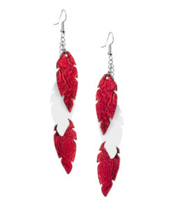 Viaminnet Feathers Petite Trio Red White Leather Earrings