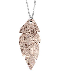 Petite Feathers Necklace Glitter Rose Gold