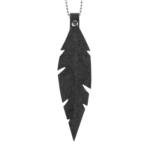 Viaminnet Feathers Grande Black Glitter Leather Necklace