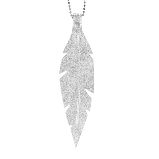 Viaminnet Feathers Grande Silver Leather Necklace