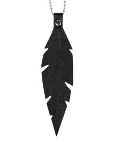 Viaminnet Feathers Grande Black Nappa Leather Necklace