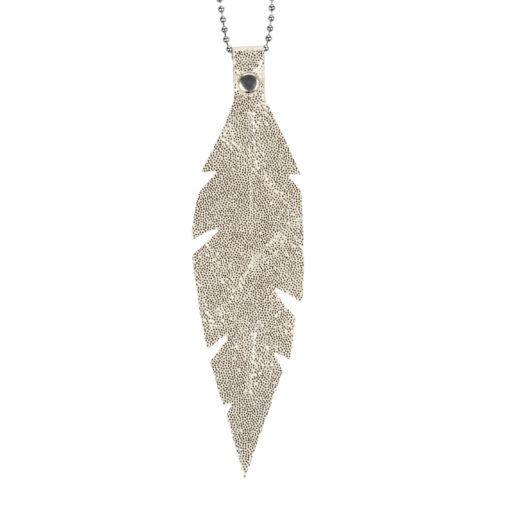 Viaminnet Feathers Grande Glitter Gold Leather Necklace