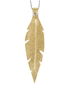 Viaminnet Feathers Grande Gold Foiled Leather Necklace