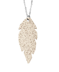 Petite Feathers Necklace Glitter Gold