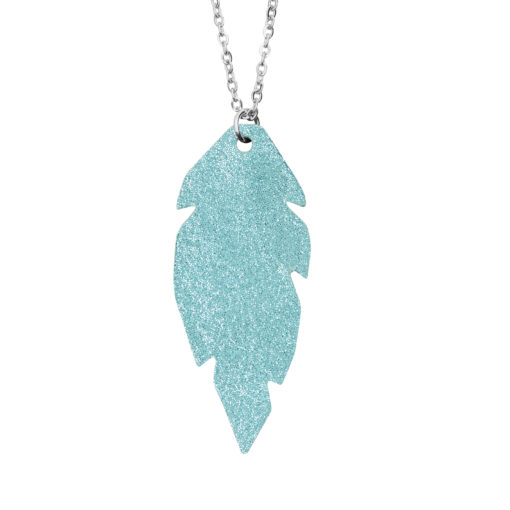 Viaminnet Petite Feathers Powder Turquoise Necklace