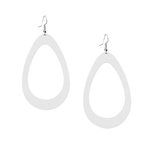 Viaminnet Sade Raindrop Grande White Recycled Leather Earrings