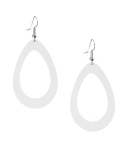 Sade Raindrop Petite White Recycled Leather Earrings