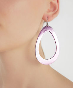 Sade Raindrop Grande Light Pink Mirror Leather Earrings