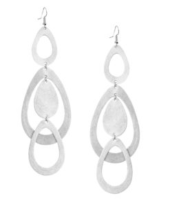 Viaminnet Sade Waterfall Grande Foiled Silver Leather Earrings