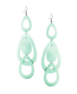 Viaminnet Sade Waterfall Grande Mirror Light Green Earrings