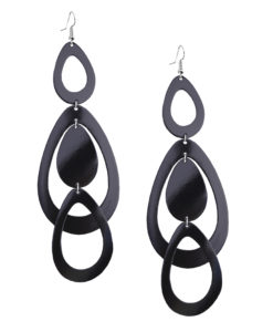 Sade Waterfall Grande Mirror Black Earrings