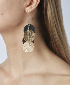 Viaminnet Bubbles Disco Trio Leather Earrings